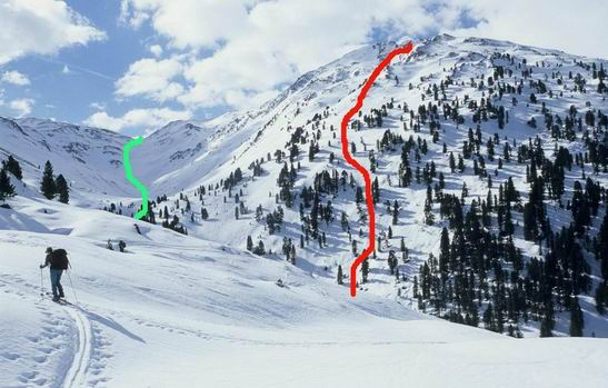 Day 5.  Red track To Hobarjoch (D2-07 to D5-01).  Green track from Geiseljoch to Weidenerhut..